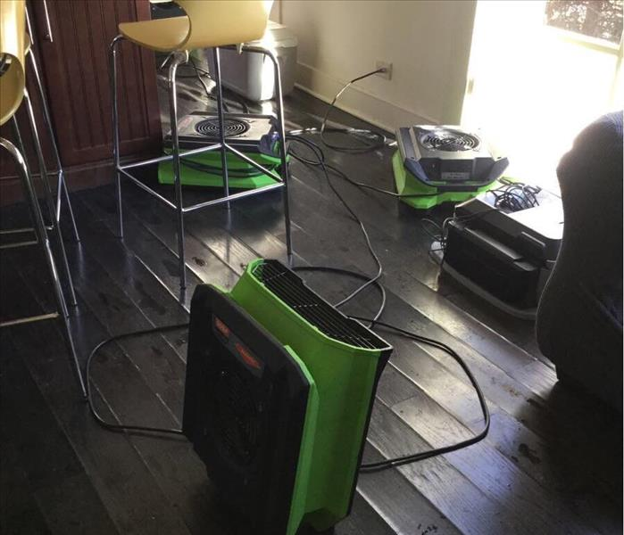 Hardwood floor with green air movers and a stool in the background.